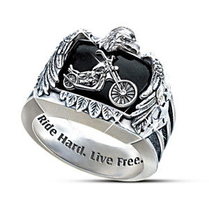 """Ride Hard, Live Free"" Motorcycle Men's Ring"