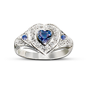 Tanzanite And Diamond 10K White Gold Heart Ring