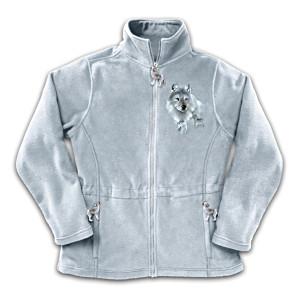 """""""Spirt Of The Wilderness"""" Wolf Art Fleece Jacket"""