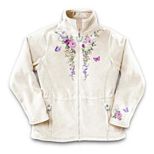 Lena Liu Garden Art Embroidered Fleece Jacket