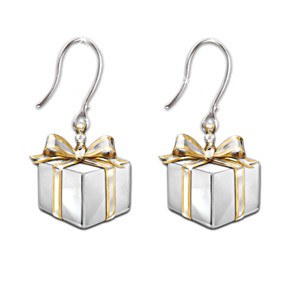 """Gift Of Love"" Sterling Silver And Diamond Earrings"