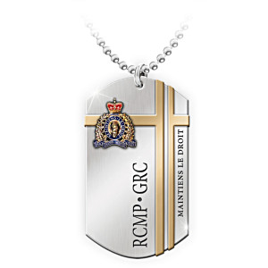 RCMP Dog Tag Enamelled And Engraved Men's Pendant Necklace