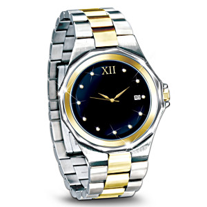"""Timeless Love"" Engraved Diamond Men's Watch"