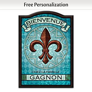 """Fleur de Lis"" Personalized Welcome Sign: Choose Language"