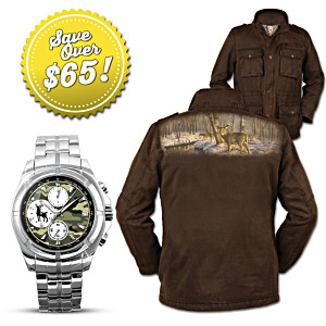 """Crossing Paths"" Men's Deer Art Jacket And Camo Watch Set"