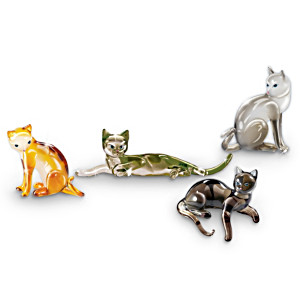 """""""Cat-itudes"""" Jewel-toned Glass Cat Figurine Collection"""