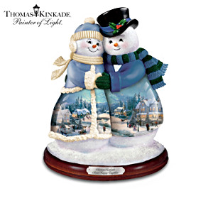 Thomas Kinkade Snow Couples Musical Figurines
