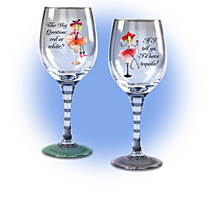 "Dolly Mama's ""Happy Hour"" Wine Glass Collection"