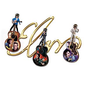 Elvis Signature Display With Three Sculptural Guitars