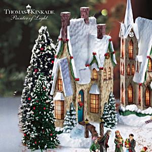 Thomas Kinkade Illuminated Christmas Village With Figurines