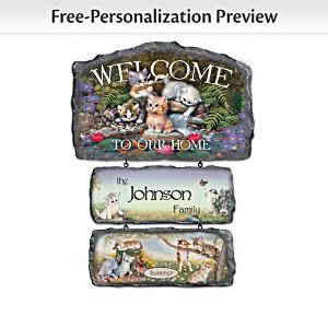 Personalized Jürgen Scholz Kitten Art Welcome Sign
