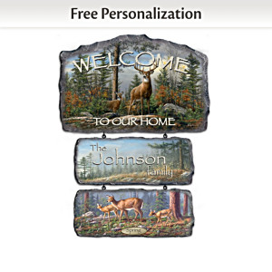 Personalized Hautman Brothers Deer Art Welcome Sign