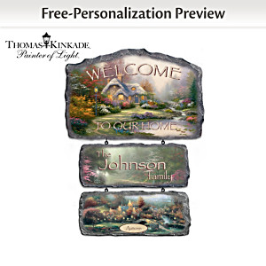 Personalized Thomas Kinkade Seasonal Art Welcome Sign