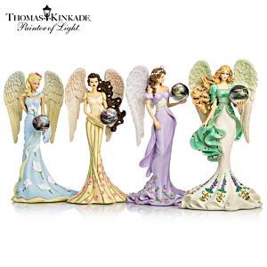"Thomas Kinkade Angel Figurines With ""Art Gazing Balls"""