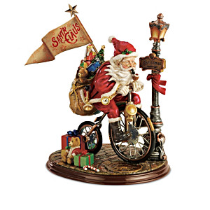 """Santa's Race Against Time"" Hand-Painted Figurine Collection"