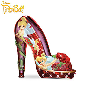 Tinker Bell Art Glass Shoe Figurines With Simulated Gems