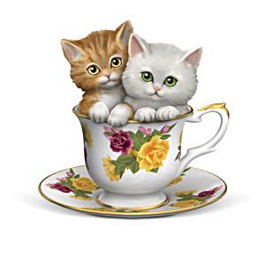 Purr-fectly Tealightful Kitten Teacup Figurine Collection