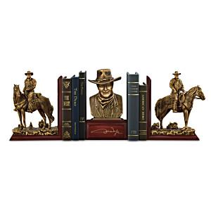 """John Wayne: American Hero Cold-Cast Bronze Legacy Bookends"""
