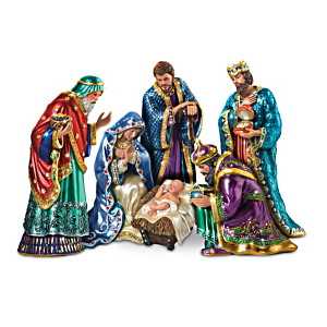 """""""The Jewelled Nativity"""" Peter Carl Faberge-Inspired Figurines"""