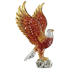 Majestic Reflections Illuminated Art Glass Eagle Sculptures
