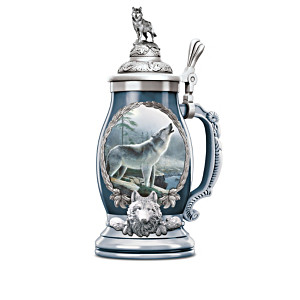 Majestic Visions Porcelain Steins With Kevin Daniel Wolf Art