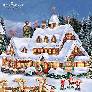 """Thomas Kinkade Illuminated """"North Pole Village"""" Collection"""