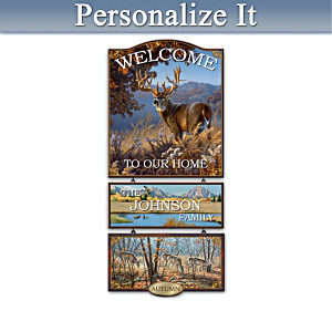 "Personalized ""Seasons Of The Wild"" Wooden Welcome Sign"