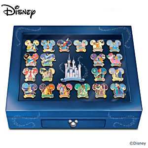 Disney Pin Collection With Collector's Cards And Display
