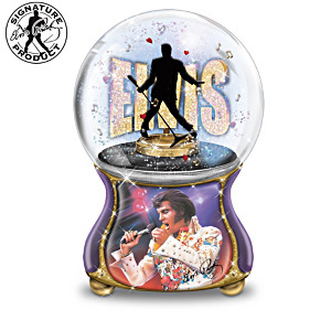 Elvis Presley Burning Love Musical Glitter Globe Collection