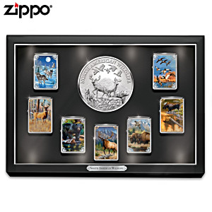 """North American Wildlife"" Zippo® Lighters With Display"