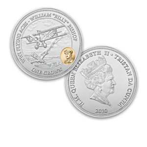 "World War I ""Flying Aces"" Silver-Plated Coin Collection"