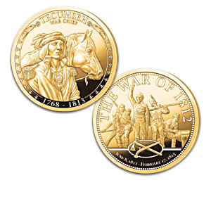 Tecumseh 24K Gold-Plated Tribute Coins With Display Box