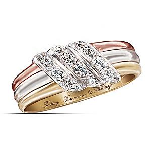 """Today, Tomorrow, Always"" 10K Gold Diamond Ring"