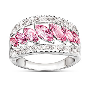 """Starlight Elegance"" Pink Topaz And 20 Diamond Ring"