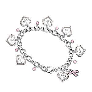 Engraved Heart Charm Bracelet For Breast Cancer Awareness