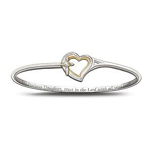 Faith And Love Engraved Diamond Bracelet For Daughter