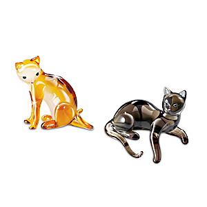 """Cat-itudes"" Jewel-Toned Glass Cat Figurine Set: Shy And Coy"