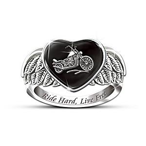 """Ride Hard, Live Free"" Women's Engraved Ring"