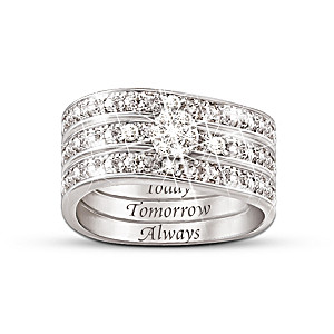 """Today, Tomorrow, Always"" Engraved Diamond 3 Band Ring"