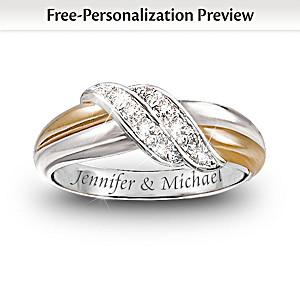 Diamond Embrace Personalized 2-Band Ring