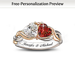 """""""Two Hearts, One Love"""" Personalized Ring"""