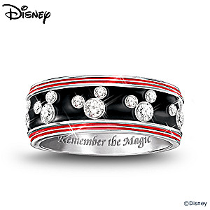 Mickey Mouse Sterling Silver Engraved Women's Ring