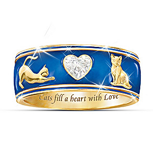 """""""Cats Fill A Heart With Love"""" Enamel And Crystal Ring"""