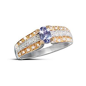 10K Gold Genuine Tanzanite Ring With 30 Diamonds