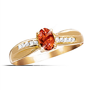 Genuine Faceted Fire Opal And Diamond Ring
