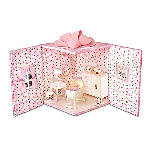 """""""Nap Time"""" Miniature Doll In Fold-Out Nursery"""