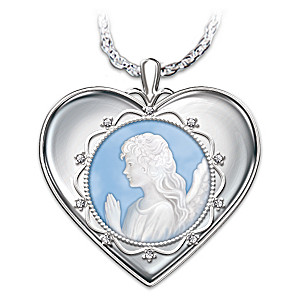 """""""Bless You Granddaughter"""" Cameo Angel Crystal Pendant"""