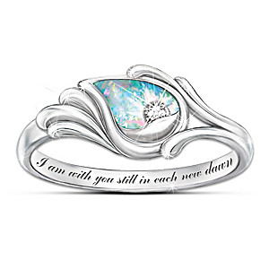"""""""I Am With You"""" Diamond & Created Opal Sterling Silver Ring"""