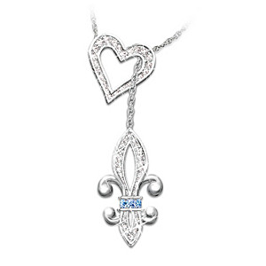Heart of Quebec Fleur de Lis Crystal Necklace