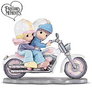 Precious Moments Two Hearts Two Wheels Biker Couple Figurine